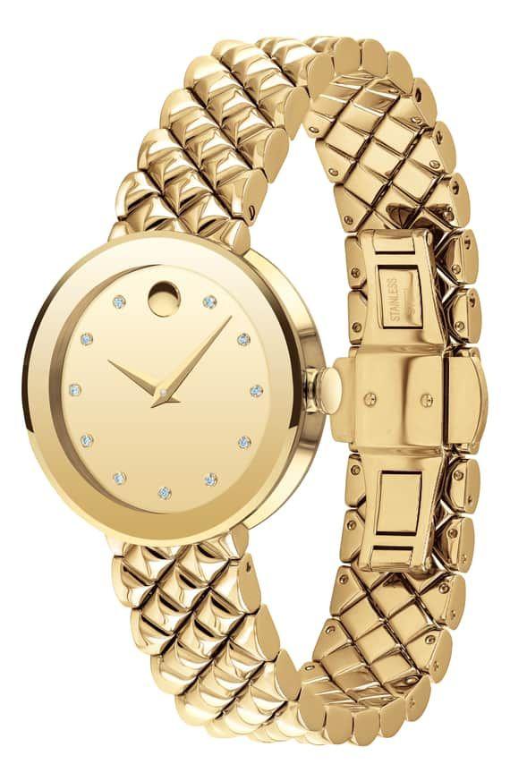Sapphire Diamond Bracelet Watch 30mm Movado Bracelet Watch Sapphire Diamond Stainless Steel Link Bracelet