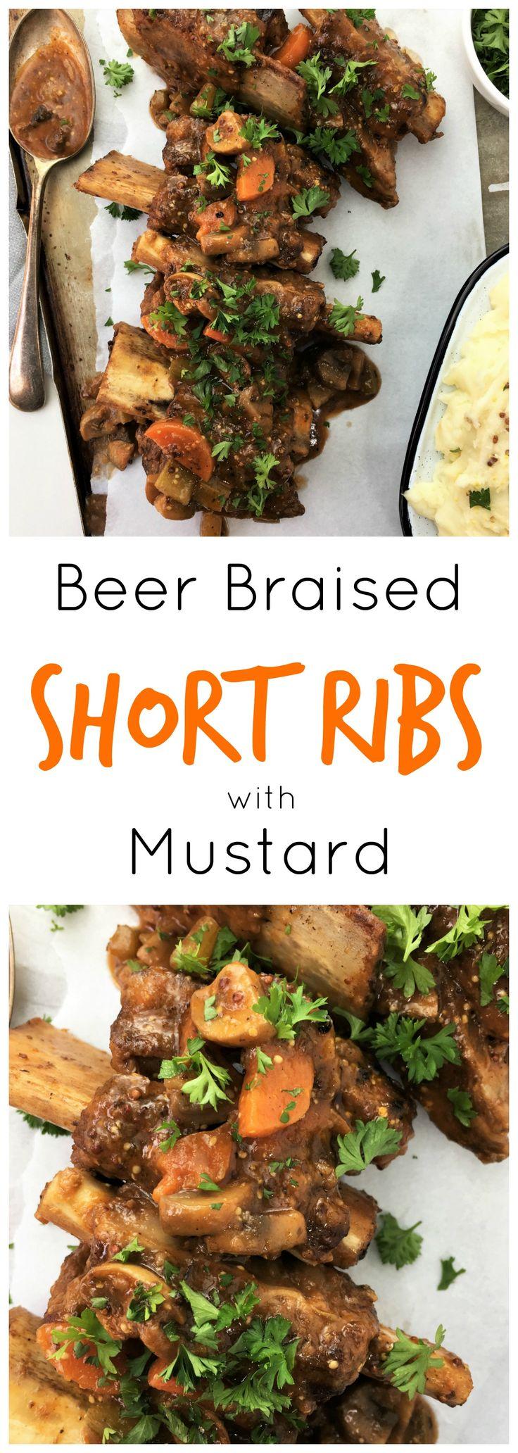 Beer braised short ribs with mustard - deep roasted vegetable packed sauce