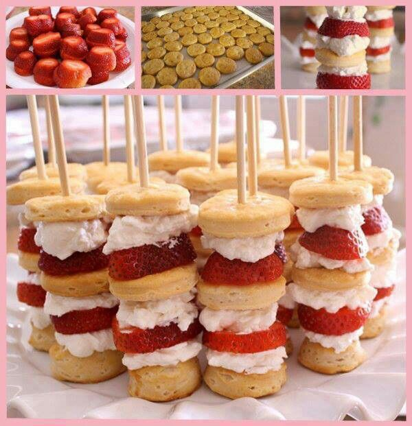 Strawberry shortcakes cabobs