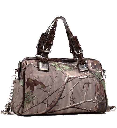 Realtree® AP Camo Satchel with Bonus Strap - Coffee Croco Trim