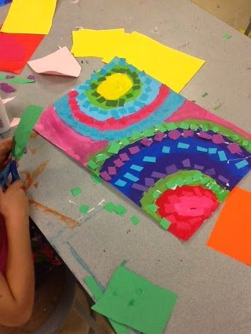 Painting, cutting, and gluing with 1st grade! Based on the art by Alma Thomas.