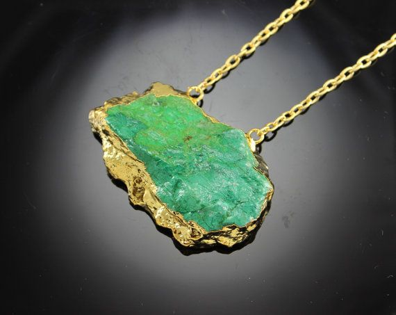 Rough Gold dipped chrysocolla Raw Statement Necklace by minakaja, $59.90