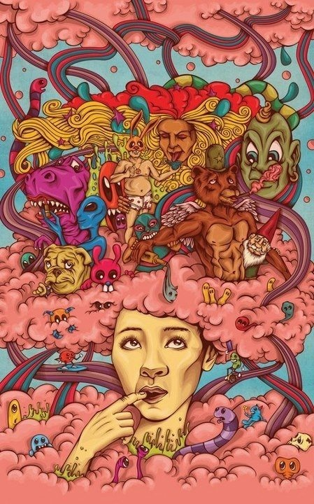 psychedelic head in the clouds