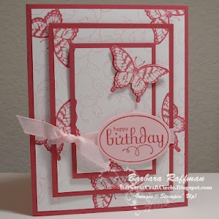 "I designed a Triple-Time Stamping card using the Papillon Potpourri, Perfect Punches, and Creative Elements stamp sets.  Here's the sample.  Here are the dimensions of the layers.  Whisper White Layers:  2"" x 3-1/4""  3"" x 4-1/4""  4"" x 5-1/4""    Card Base and Mats:  2-1/4"" x 3-1/2""  3-1/4"" x 4-1/2""  5-1/2"" x 8-1/2"" (fold in half for card base)"