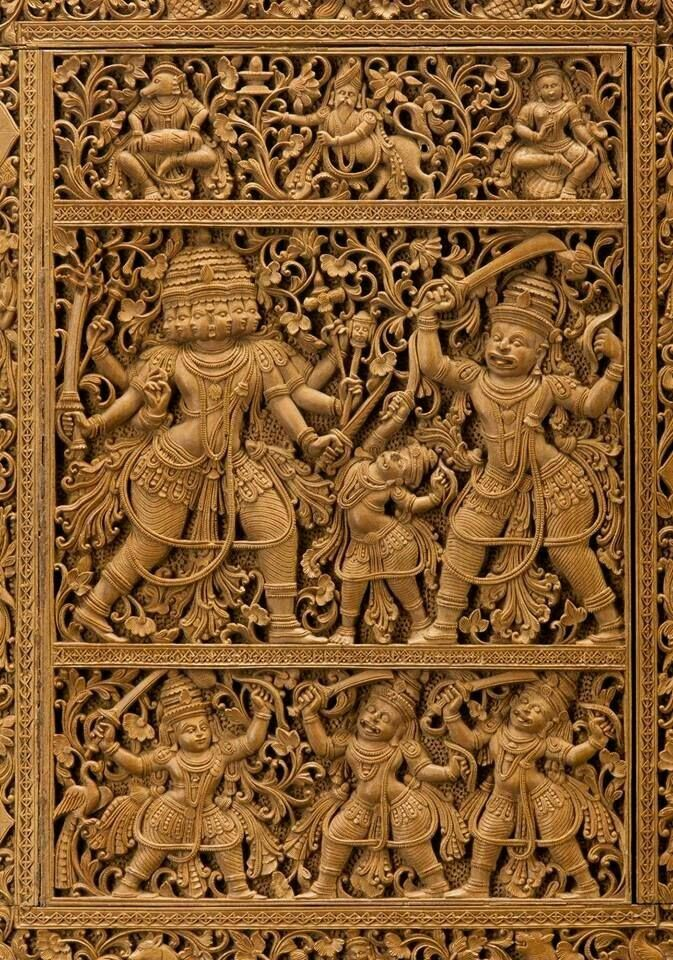 Pin By Chandru On Architecture: Sandal Wood Carved With Ramayan Scene