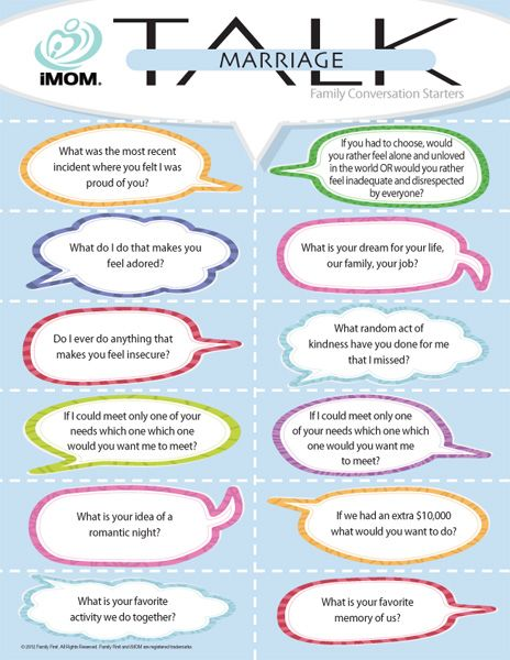 More marriage conversation starters. We grab an adult beverage, go to the bedroom, and hang out like teenagers with these questions :)