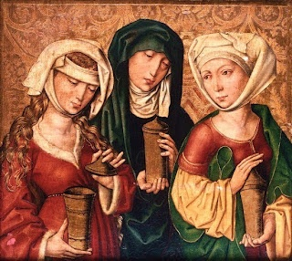 Mary Magdalene: Three Maries, c.1500, Michael Wolgemut.  Note the v-necked chemise on the left
