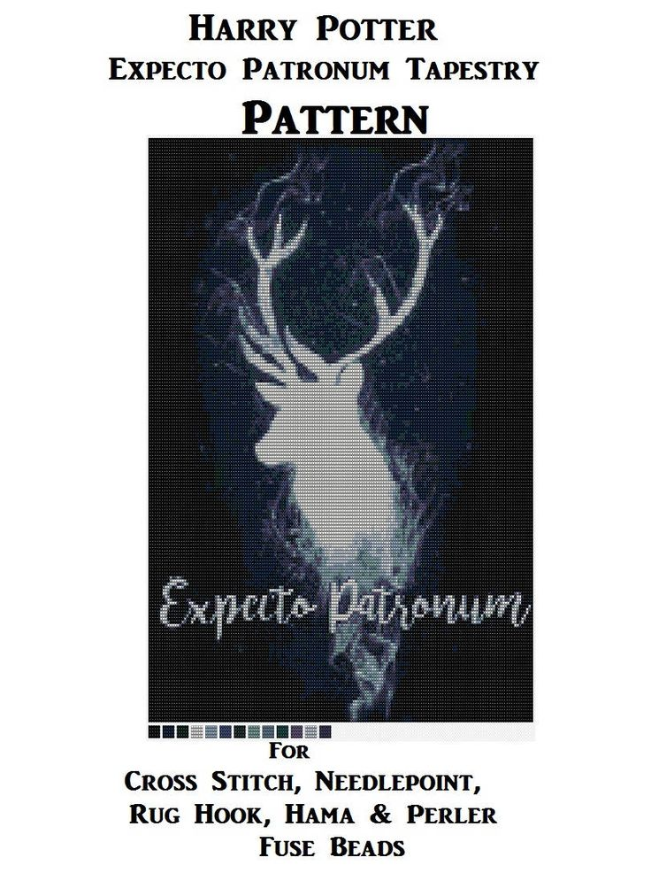 Expecto Patronum Tapestry PATTERN, Harry Potter Cross Stitch, Needlepoint Latch Hook Rug Designs, Perler Patterns, Hama Crafts, Download PDF by Dare2beUNIQUE on Etsy