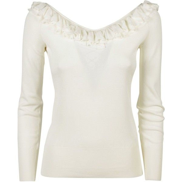 Ruffled Top ($268) ❤ liked on Polyvore featuring tops, sweaters, beige, womenclothingtopwear, white long sleeve sweater, v back sweater, lace up long sleeve top, ruffle top and flounce tops