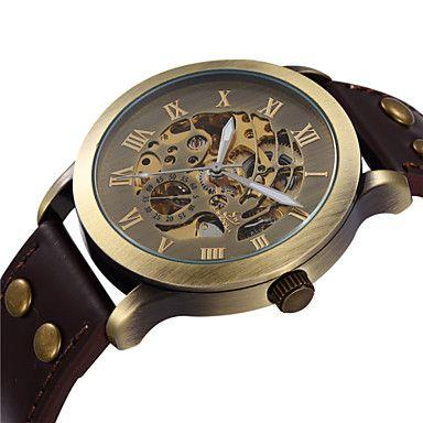 Men's+Vintage+Skeleton+Bronzen+Dial+Leather+Band+Automatic+Self+Wind+Wrist+Watch+–+USD+$+24.99