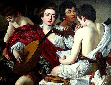 Caravaggio - The Musicians. De schilders van de Utrechtse School waren erg beïnvloed door het werk van Caravaggio.