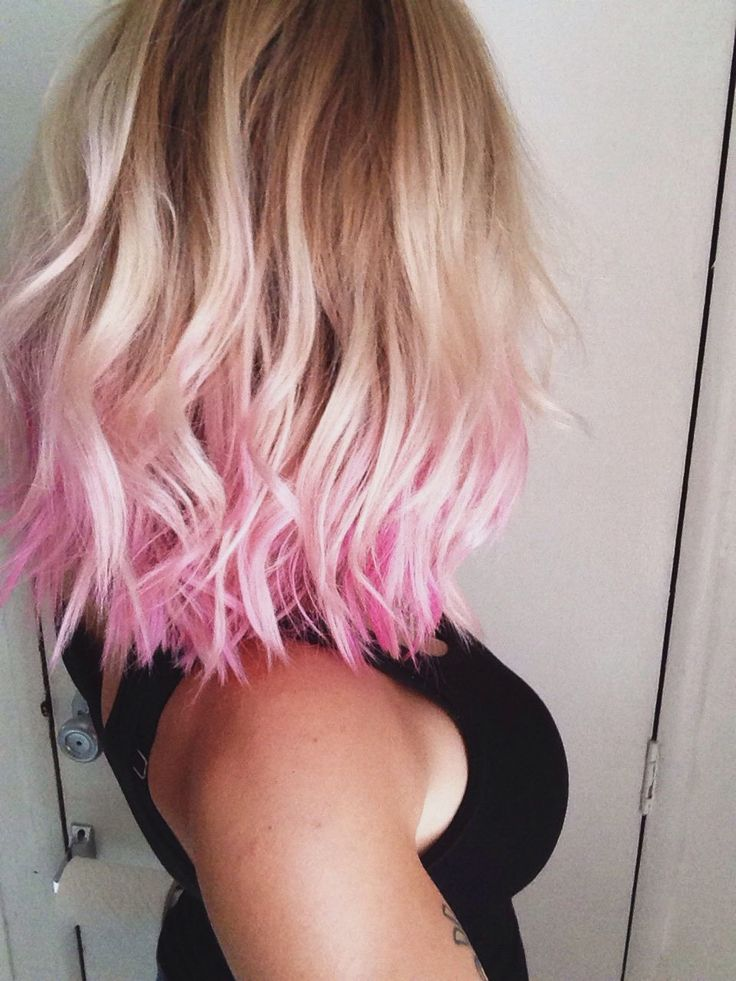 Okay, I would never die my hair, but I will admit that this looks cool; I like the pink ends with the blonde.