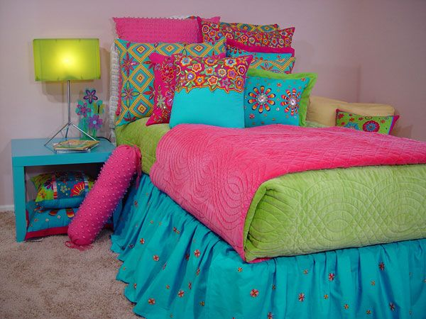 Purple pink and blue and green bedding lime green and for Blue and green girls bedroom ideas