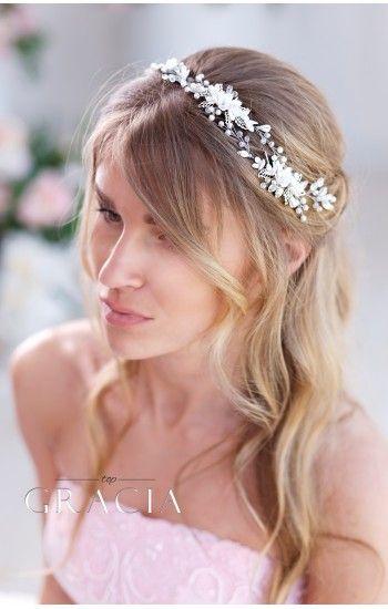 AGLAIA White or Ivory Bridal Headpiece With gentle handmade Flowers #topgraciawedding #bridalhairaccessories #weddingheadband