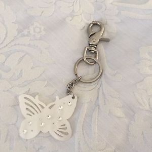 Mimco-Butterfly-Keyring-Silver-And-White