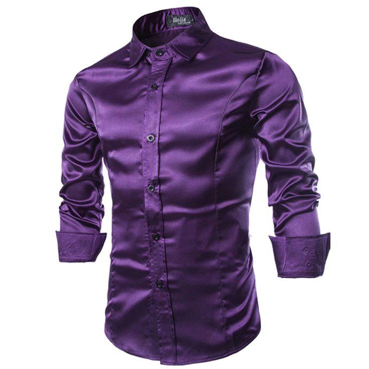 New Men Shirt Long Sleeve Chemise Homme 2016 Fashion Design Purple Mens Silk Shirt Slim Tuxedo Dress Shirts Brand Camisa Social(China (Mainland))
