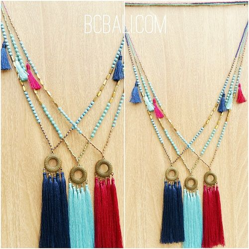 three color tassels necklace pendant gold caps beads - three color tassels necklace pendant gold caps beads