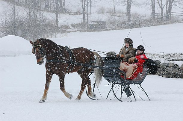 Wassail Weekend in Woodstock, VT...  There's a parade of more than 50 horses and riders adorned in holiday costumes and period dress, as well as wagon and sleigh rides, a wassail feast, and tours of the city's most notable historic buildings.
