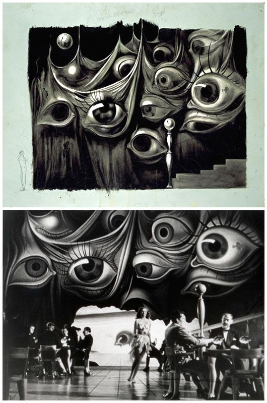 Dali's set design for Afred Hitchcock's 1945 feature film Spellbound was influenced by Freudian psychoanalysis. See how similar the finished set adheres to his original creepy drawing!