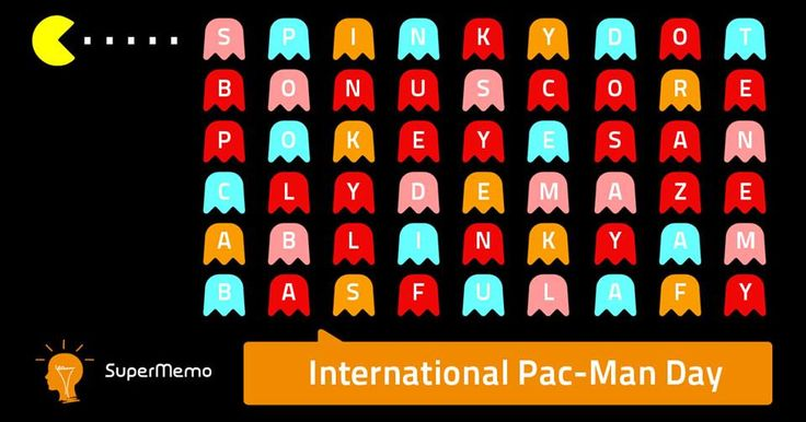 A little riddle for International Pac-Man Day. How many words you can catch?