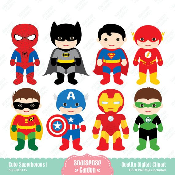 cute superheroes digital clipart - 1