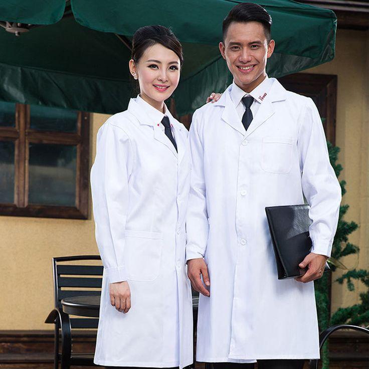 Long-sleeve Women/Men White Medical Coat Medical Services Uniform Nurse Clothing White Lab Coat Hospital Doctor Clothes