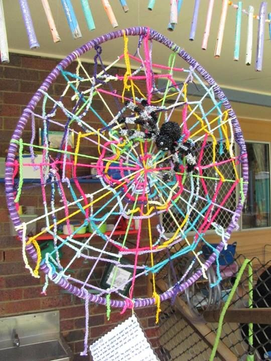 "'Take one broken hula hoop, add some coloured wool, then let the children weave in, out, under over & around and around with coloured wool & beads' - from Heather Mary, image shared by Teach Preschool ("",)"