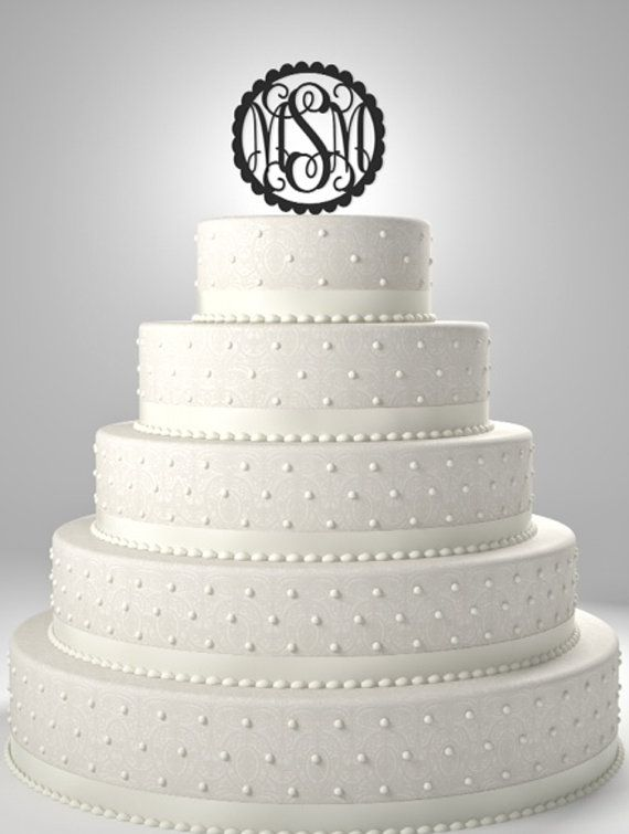 6x6 inch Monogram Cake Topper /weddings/cake by KENTandCURRENT, $16.99