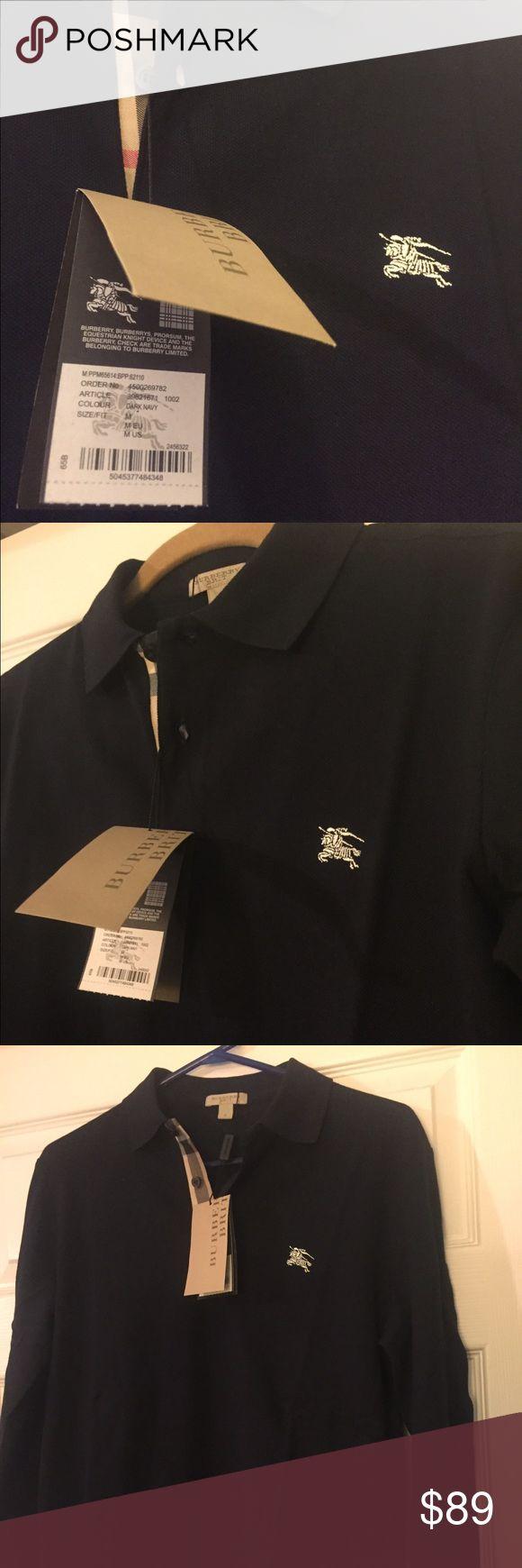 NWT Authentic Men's Burberry Long Sleeve Shirt 🔥🔥🔥Brand New Burberry Men's Shirt in Dark Navy Size Medium🔥🔥🔥 Burberry Shirts Polos