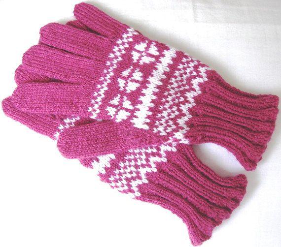 Fairisle gloves ladies gloves Norwegian gloves pink by Loonville