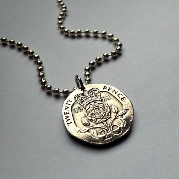 Lp UK Great Britain 20 pence coin pendant necklace jewelry crowned Tudor rose  #acnyCOINJEWELRY #Pendant