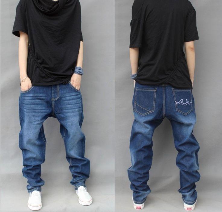 Fashion 2016 Elastic Plus Size Harem Jeans Men Tapered Baggy Pants Drop Crotch Jeans Hip-hop Pants Casual Joggers Legging Blue