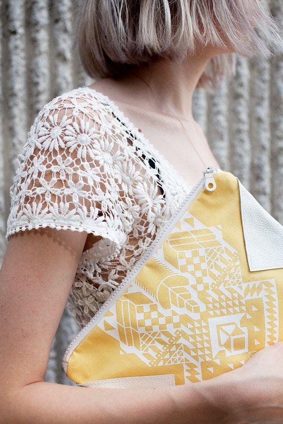Geometrical Illusion Printed Leather Pouch White No. by CORIUMI