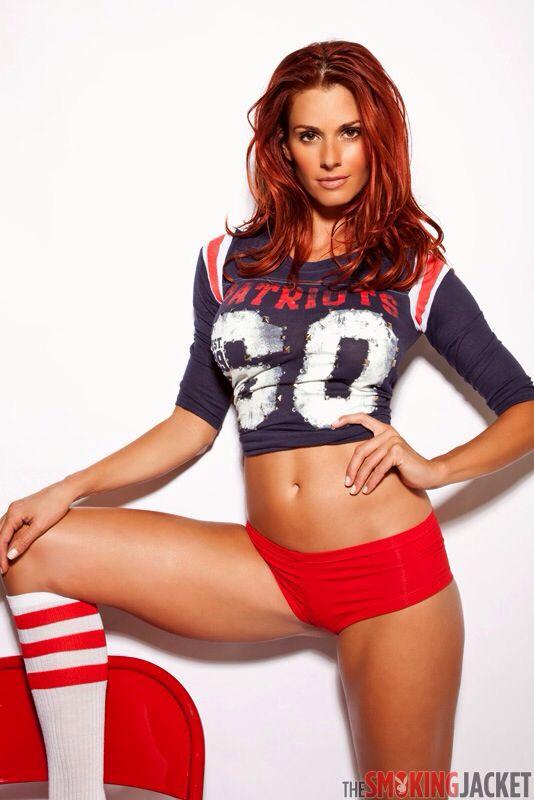 Jaime Edmondson sexy in New England Patriots skimpy wear. NFL Calendars sports-calendars.com