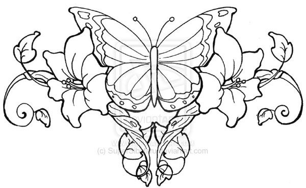 Drawings of Hearts Tattoo | butterfly lowerback tattoo 25 ...