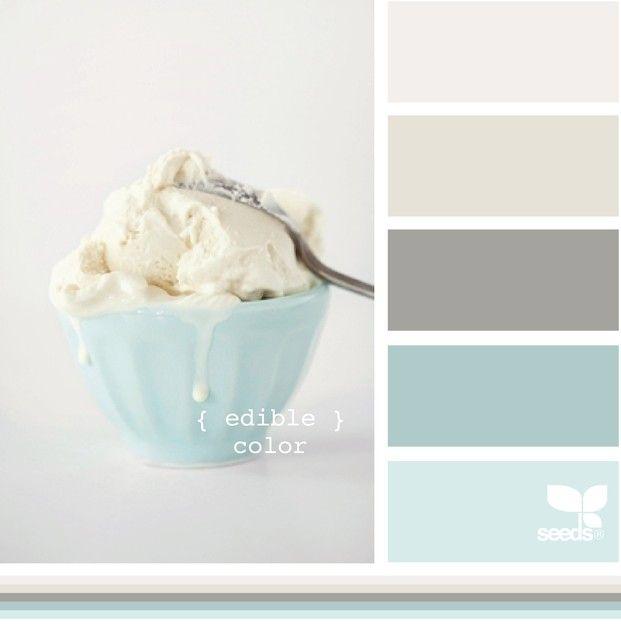 Kitchen I think. Light blue walls, dark counters, darker blue back splash, gray walls.  Blurb ebook: Design Seeds