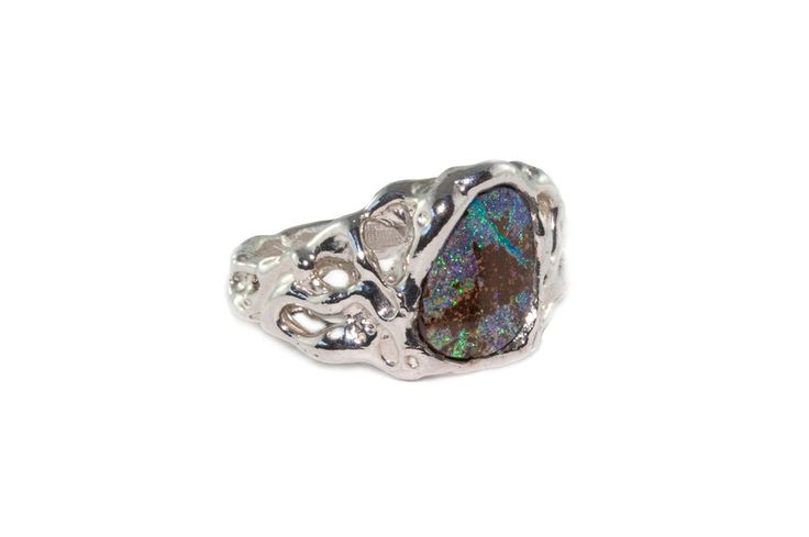 Holliegraphic Australian boulder opal ring. http://www.holliegraphic.com/shop/boulder-opal-1 Instagram @holliegrapghic