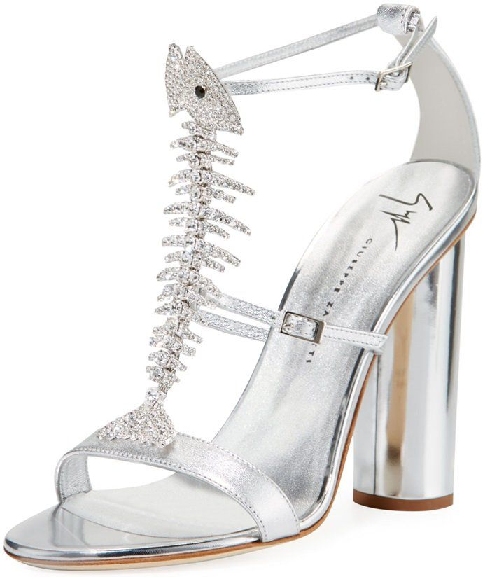 e65c68e91a041 Giuseppe Zanotti metallic leather sandals with Swarovski crystal fish  skeleton center