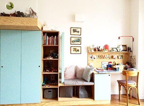 Mercredi, jour des enfants... Et si vous avez besoin de repenser l'agencement de leurs chambres, parlons-en 👍🏻 #ÂMDECO #surmesure #kidsroom #paris #renovation #decoration #interior #kids #chambredenfant