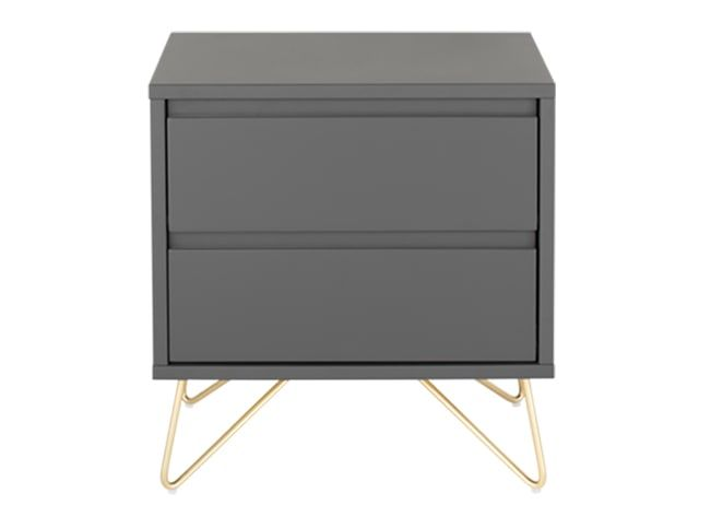 Elona Bedside Table, Charcoal and Brass