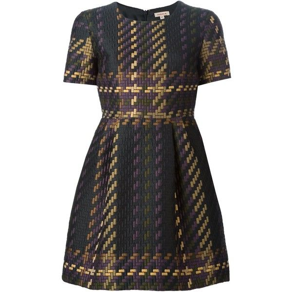 P.A.R.O.S.H. Woven Effect Dress (3.495 NOK) ❤ liked on Polyvore featuring dresses, vestidos, short dress, black, kohl dresses, multicolor dress, black mini dress, mini dress and black cocktail dresses