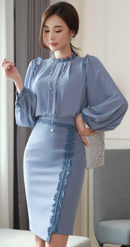 StyleOnme_Lace Trim Asymmetrical Hem Pencil Skirt #blue #lace #feminine #skirt #koreanfashion #kstyle #kfashion #springtrend #seoul #dailylook