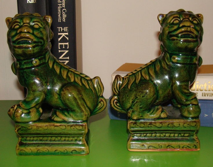 Vintage PAIR of Foo Dog Asian Bookends Shelf Display Gorgeous Green Eclectic Home. SOLD via Etsy.