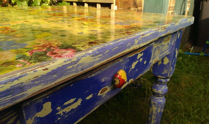 make a new drawer pull out of oven bake polymer clay, the decoupage it to match the table top