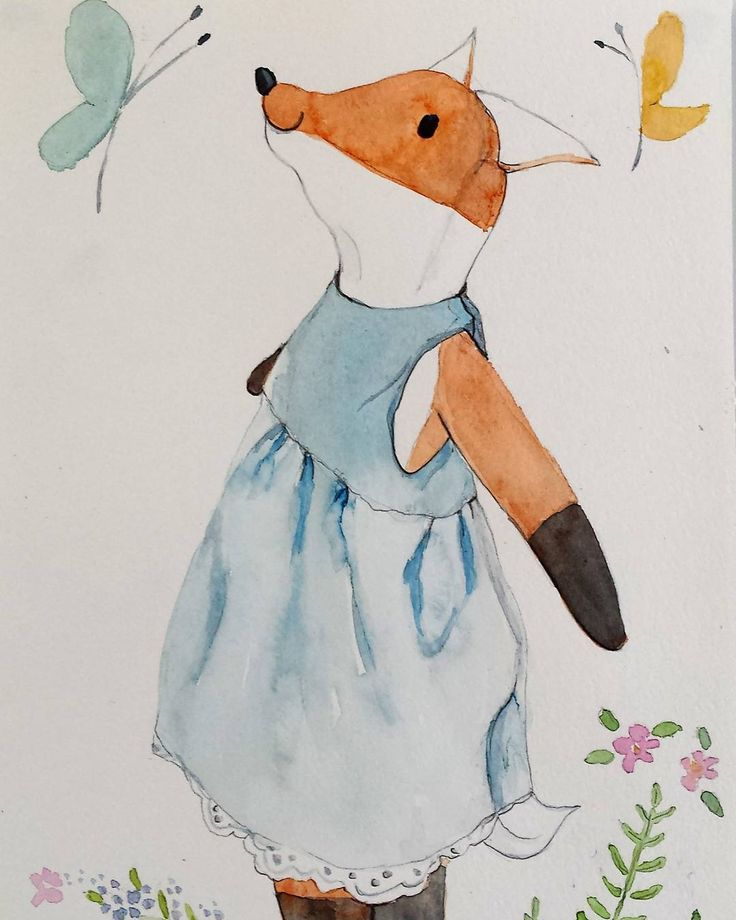 "Saskia Harrison (@saskiasstudio) on Instagram: ""Got the watercolor paints out today. This is Felicity fox enjoying the butterflies. Fox doll on…"""