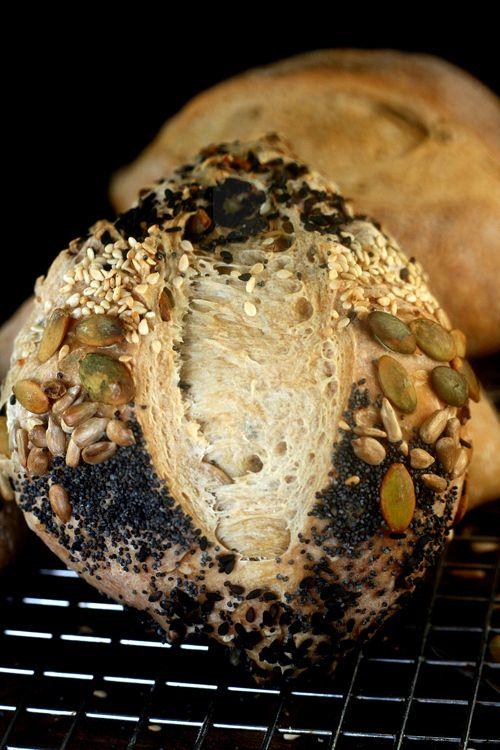 Six seed Garlic and Onion Poolish Rolls
