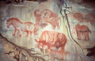 Настенные изображения времен Верхнего палеолита в Каповой пещере (Россия).