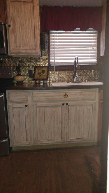 This is the next section of cabinets ! Mobile home makeover