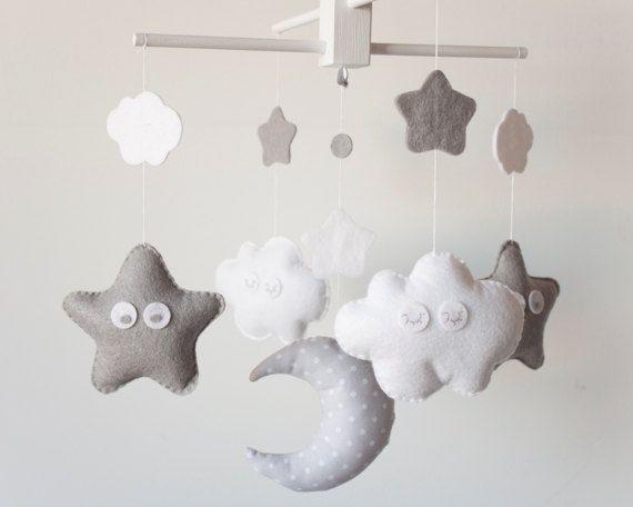 Luna, estrellas, nubes - patrón
