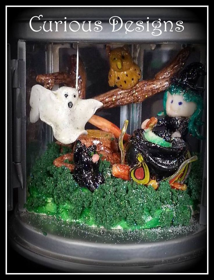 Spell caster in a lantern just a little scene I made #witch #ghost #spooky #owl #blackcat #cauldren #halloween #curiousdesigns #gifts #ladyopheliaravenlovelace #lanterns
